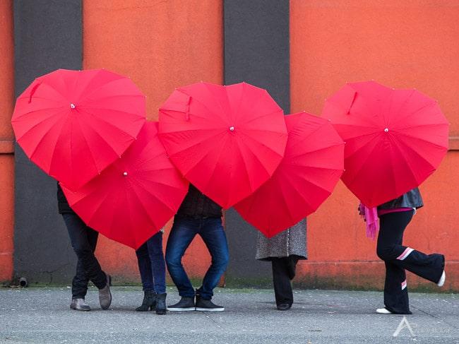 umbrella parasols heart