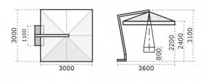 Printed Parasols Premium Cantilever 3m x 3m