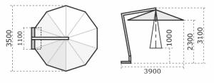 Printed Parasols Premium Wooden Cantilever 3.5m