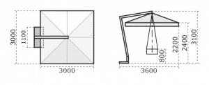 Printed Parasols Premium Wooden Cantilever 3m