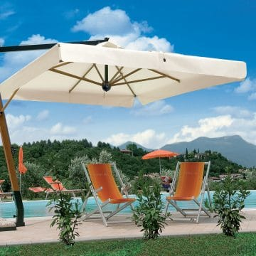 Printed Parasols Uber Wooden Cantilever - pool