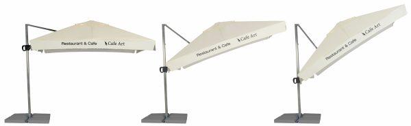 Promotional parasols cantilever 3m x 3m collapsing