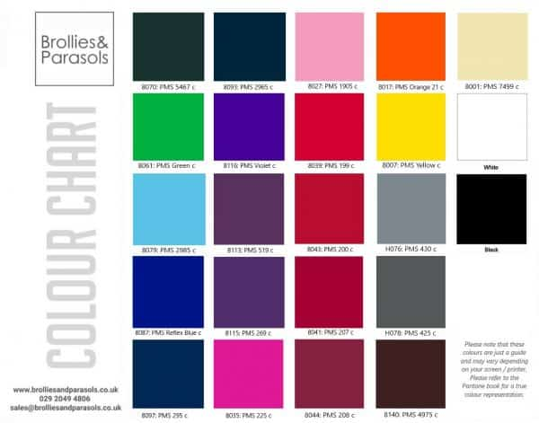 Promotional Umbrellas Stock Canopy Colour Chart
