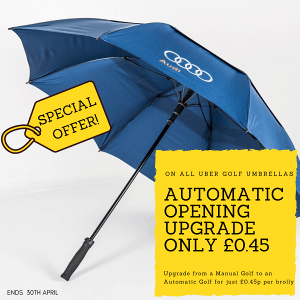 Promotional umbrellas automatic upgrade special offer